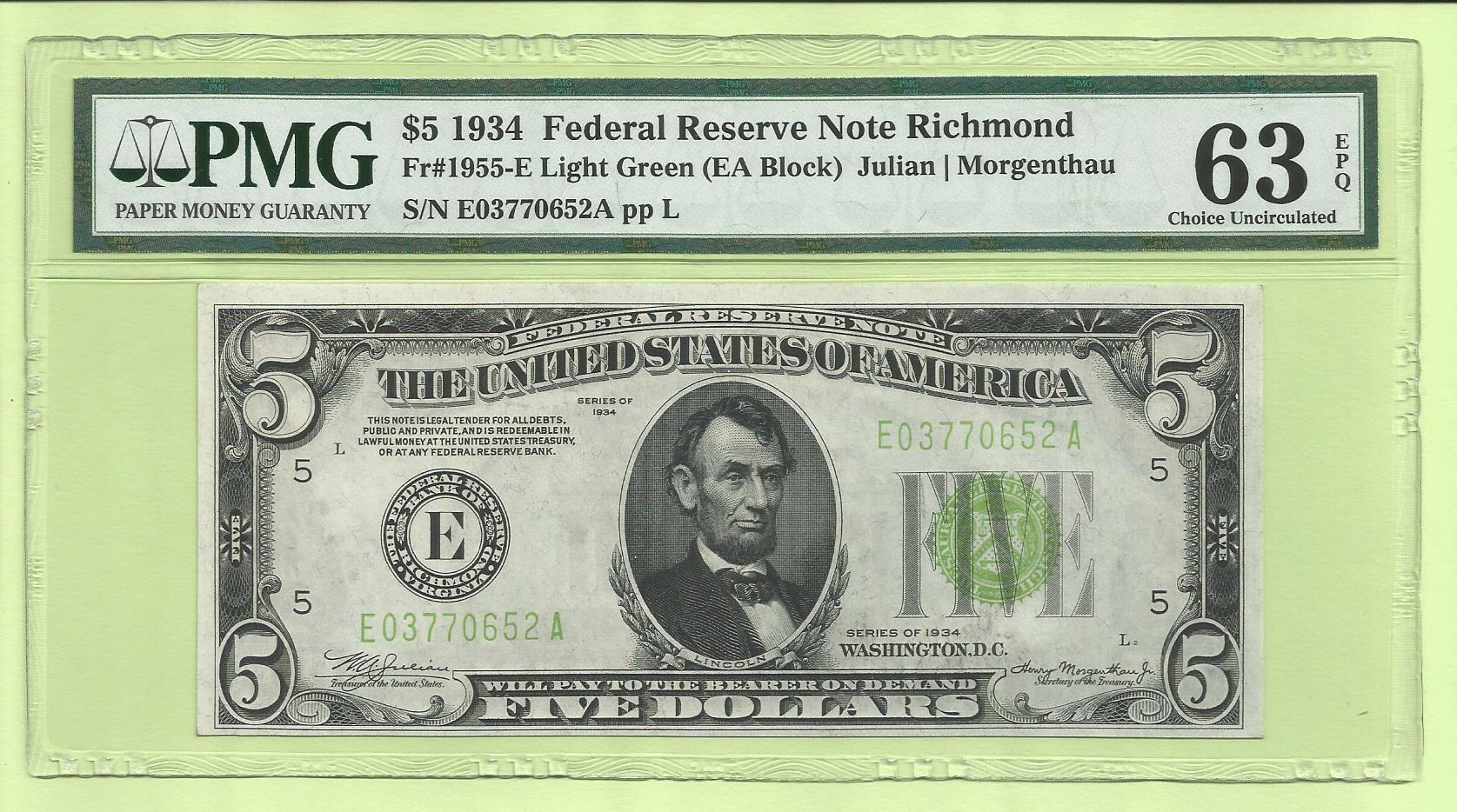 1963-A $5 San Francisco District Federal Reserve Note FR 1968-L Uncirculated