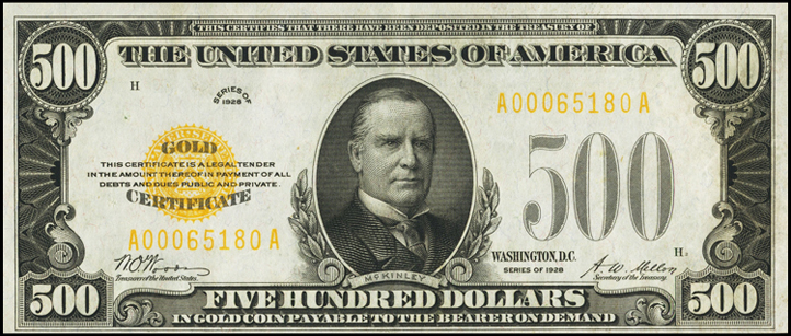 $500 Series of 1928 Gold Certificate Sheets   1928Notes.com